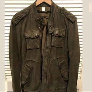 Leather Diesel Motorcycle Green Jacket Size XL